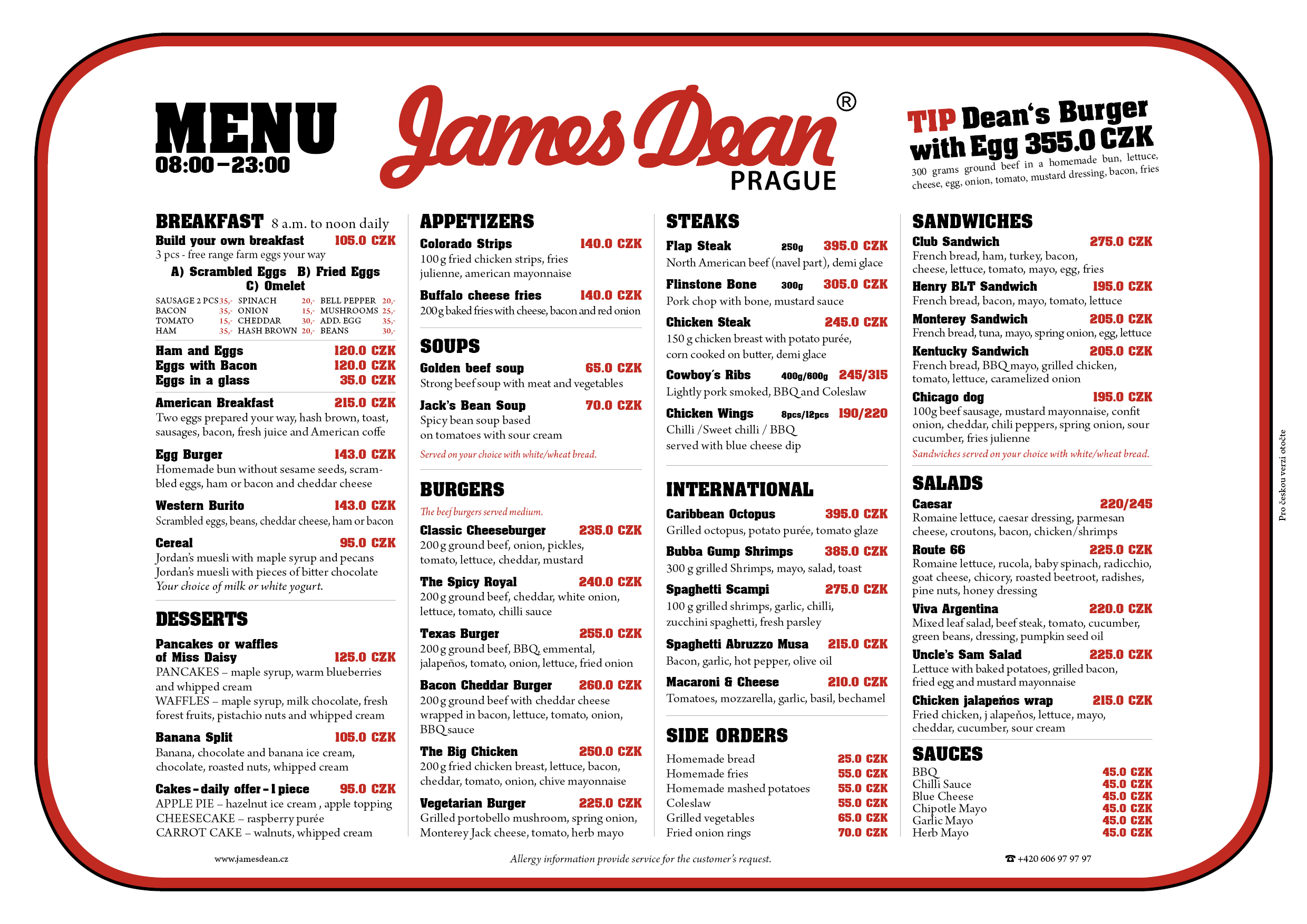 Food Menu James Dean Prague
